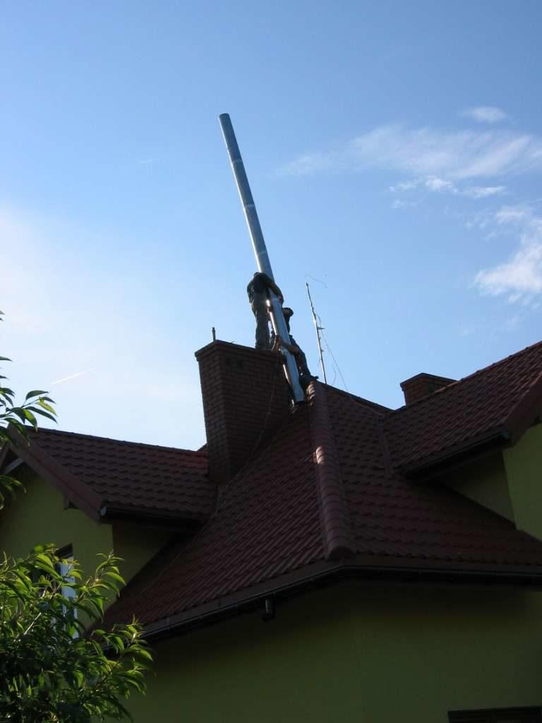montaż rury komina
